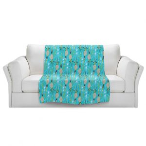 Artistic Sherpa Pile Blankets | Sue Brown - Gervay Garden 8 | Pattern flower repetition abstract