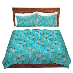 Artistic Duvet Covers and Shams Bedding | Sue Brown - Gervay Garden 8 | Pattern flower repetition abstract