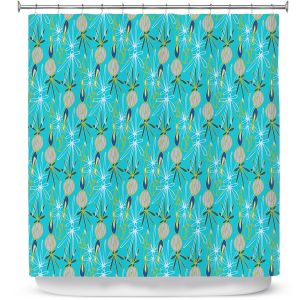 Premium Shower Curtains | Sue Brown - Gervay Garden 8 | Pattern flower repetition abstract