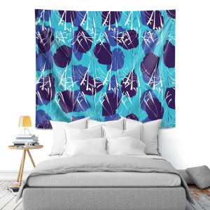 Artistic Wall Tapestry | Sue Brown - Hibiscus Blue
