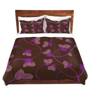 Artistic Duvet Covers and Shams Bedding | Sue Brown - Purple Vine