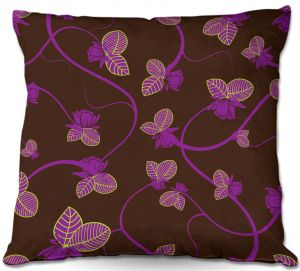 Decorative Outdoor Patio Pillow Cushion | Sue Brown - Purple Vine