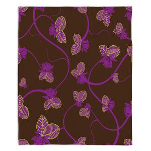 Decorative Fleece Throw Blankets | Sue Brown - Purple Vine