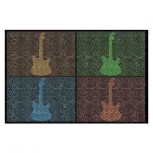 Decorative Floor Covering Mats | Susie Kunzelman - 4 Guitars | pop art pattern repetition music