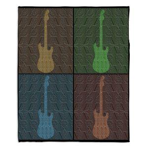 Decorative Fleece Throw Blankets | Susie Kunzelman - 4 Guitars | pop art pattern repetition music