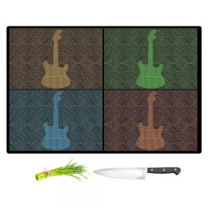 Artistic Kitchen Bar Cutting Boards | Susie Kunzelman - 4 Guitars | pop art pattern repetition music