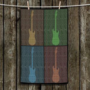 Unique Hanging Tea Towels | Susie Kunzelman - 4 Guitars | pop art pattern repetition music