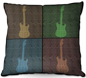 Decorative Outdoor Patio Pillow Cushion | Susie Kunzelman - 4 Guitars | pop art pattern repetition music