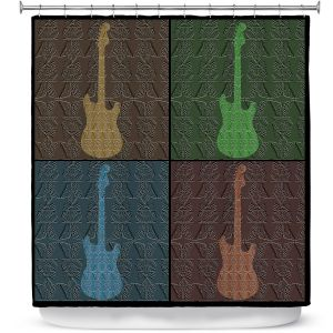 Premium Shower Curtains   Susie Kunzelman - 4 Guitars   pop art pattern repetition music