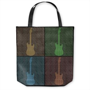 Unique Shoulder Bag Tote Bags | Susie Kunzelman - 4 Guitars | pop art pattern repetition music
