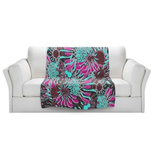 Artistic Sherpa Pile Blankets | Susie Kunzelman - Angel Girl 2 | abstract flower pattern floral