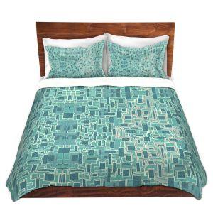 Artistic Duvet Covers and Shams Bedding | Susie Kunzelman - Aqua Tech | Pattern repetition mosaic