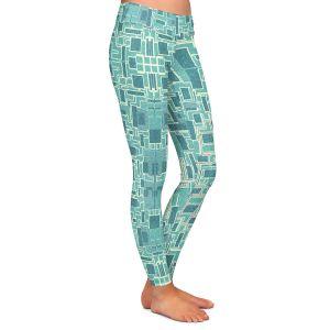 Casual Comfortable Leggings | Susie Kunzelman - Aqua Tech | Pattern repetition mosaic