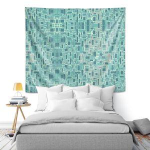 Artistic Wall Tapestry | Susie Kunzelman - Aqua Tech | Pattern repetition mosaic