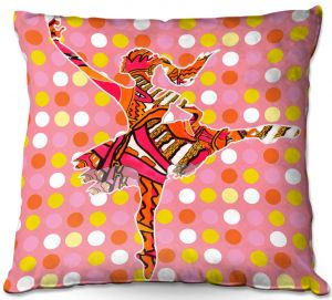 Decorative Outdoor Patio Pillow Cushion | Susie Kunzelman - Ballerina Polka Dot | pattern silhouette dancer
