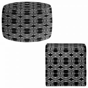 Round and Square Ottoman Foot Stools | Susie Kunzelman - Black Curtain II