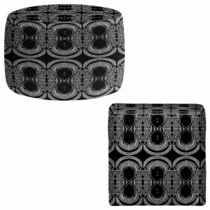 Round and Square Ottoman Foot Stools | Susie Kunzelman - Black Drape