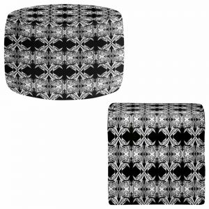 Round and Square Ottoman Foot Stools | Susie Kunzelman - Black Swag