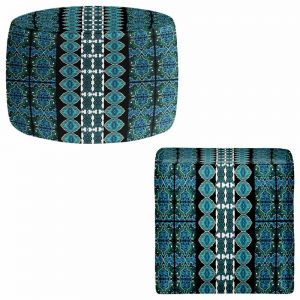Round and Square Ottoman Foot Stools | Susie Kunzelman - Blue Bonnet II