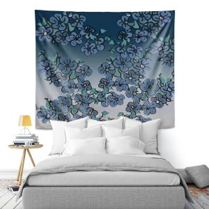 Artistic Wall Tapestry   Susie Kunzelman - Blue Dogwood   floral tree leaves