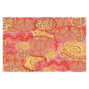 Decorative Floor Covering Mats | Susie Kunzelman - Cabbage Rose Circle | Geometric Abstract
