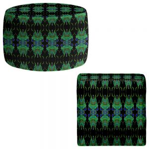 Round and Square Ottoman Foot Stools | Susie Kunzelman - Deep Blue Sea II