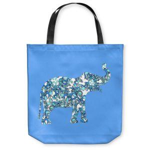 Unique Shoulder Bag Tote Bags   Susie Kunzelman - Elephant II Ribbons Blue