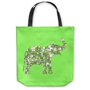 Unique Shoulder Bag Tote Bags   Susie Kunzelman - Elephant II Ribbons Green