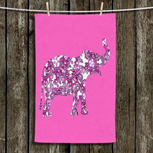 Unique Hanging Tea Towels | Susie Kunzelman - Elephant II Ribbons Pink | Elephant Animals Children