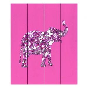 Decorative Wood Plank Wall Art | Susie Kunzelman - Elephant II Ribbons Pink