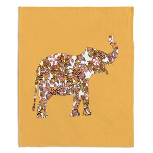 Artistic Sherpa Pile Blankets | Susie Kunzelman - Elephant II Ribbons Tangerine