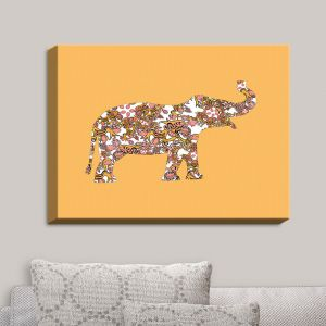 Decorative Canvas Wall Art | Susie Kunzelman - Elephant II Ribbons Tangerine