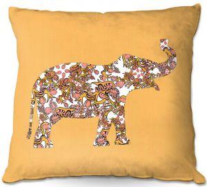 Decorative Outdoor Patio Pillow Cushion | Susie Kunzelman - Elephant II Ribbons Tangerine