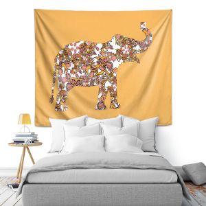 Artistic Wall Tapestry | Susie Kunzelman - Elephant II Ribbons Tangerine