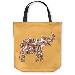 Unique Shoulder Bag Tote Bags   Susie Kunzelman - Elephant II Ribbons Tangerine