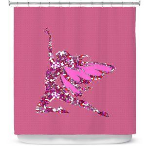 Premium Shower Curtains | Susie Kunzelman - Fairy Come Fly Pink