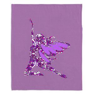 Decorative Fleece Throw Blankets | Susie Kunzelman - Fairy Come Fly Purple