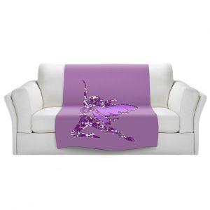 Artistic Sherpa Pile Blankets   Susie Kunzelman - Fairy Come Fly Purple