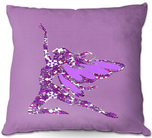 Decorative Outdoor Patio Pillow Cushion | Susie Kunzelman - Fairy Come Fly Purple