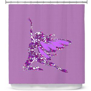 Premium Shower Curtains | Susie Kunzelman - Fairy Come Fly Purple