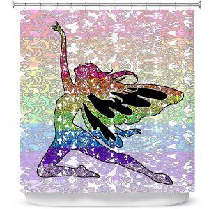 Premium Shower Curtains | Susie Kunzelman - Fairy Come Fly Rainbow