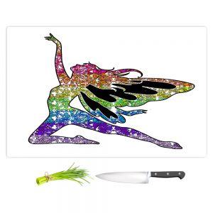Artistic Kitchen Bar Cutting Boards   Susie Kunzelman - Fairy Come Fly Rainbow White