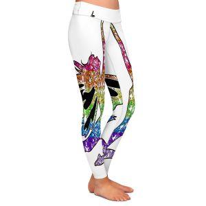 Casual Comfortable Leggings | Susie Kunzelman - Fairy Come Fly Rainbow White
