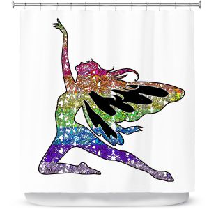 Premium Shower Curtains | Susie Kunzelman - Fairy Come Fly Rainbow White