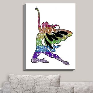 Decorative Canvas Wall Art | Susie Kunzelman - Fairy Come Fly Rainbow White | Fantasty Childlike Whimsical
