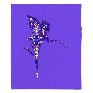 Artistic Sherpa Pile Blankets | Susie Kunzelman - Fairy Dance Blue Periwinkle