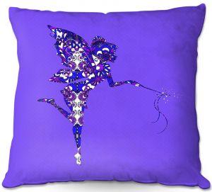 Decorative Outdoor Patio Pillow Cushion   Susie Kunzelman - Fairy Dance Blue Periwinkle