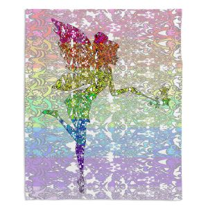 Decorative Fleece Throw Blankets | Susie Kunzelman - Fairy Dance Rainbow