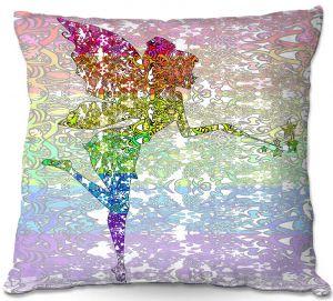 Decorative Outdoor Patio Pillow Cushion | Susie Kunzelman - Fairy Dance Rainbow