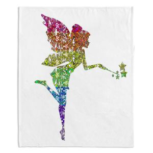 Artistic Sherpa Pile Blankets | Susie Kunzelman - Fairy Dance Rainbow White